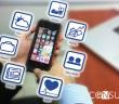 Fotografía de telefono inteligente siendo usado editada para que los iconos de las apps aparezcan a mayor tamaño